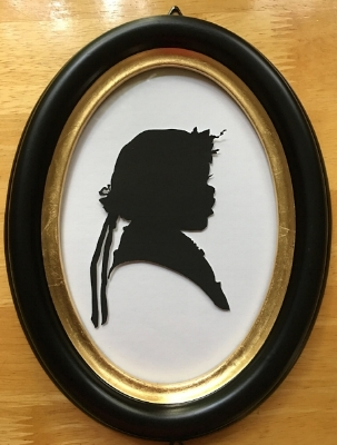 Silhouette portraits are stunning when framed. This is an example of mirror copy of the above silhouette portrait. With every order you get two (2) silhouette portraits (more copies available for a slight extra fee) . And look at this stunning frame, also available as an option.