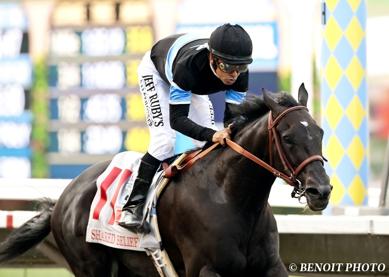 Shared Belief  winning the  G1 Pacific Classic.   Photo taken by Benoit Photography.