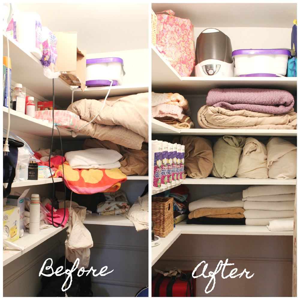 Linen closet Before After Sadie Road