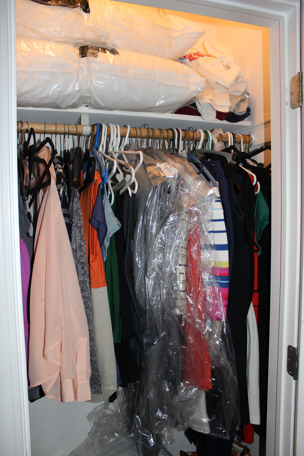 "The ""Before"". There was a lot of unused space below the hanging clothes and on the top shelf that was calling for a more functional storage system!"