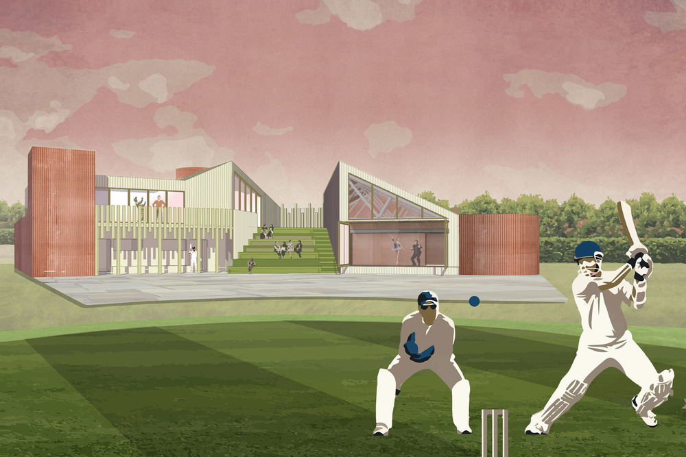 Rear view from the cricket pitch; showing the terrace, tiered seating and large glazed doors to the 'Great Hall'.