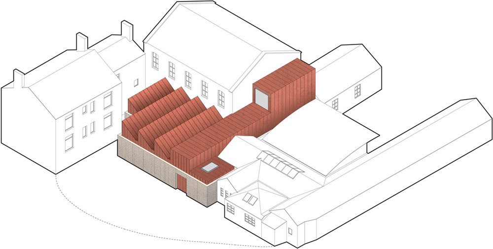 Isometric drawing of the proposed showroom and entrance building within the context of the overall campus
