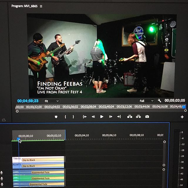 Almost done with one of the first #frostfest4 edits! #findingfeebas #adobepremiere #editing #poppunk #emo @findingfeebas @brittneyonfire @nikkikarwacki @rjnoebelsmusic @ssova213