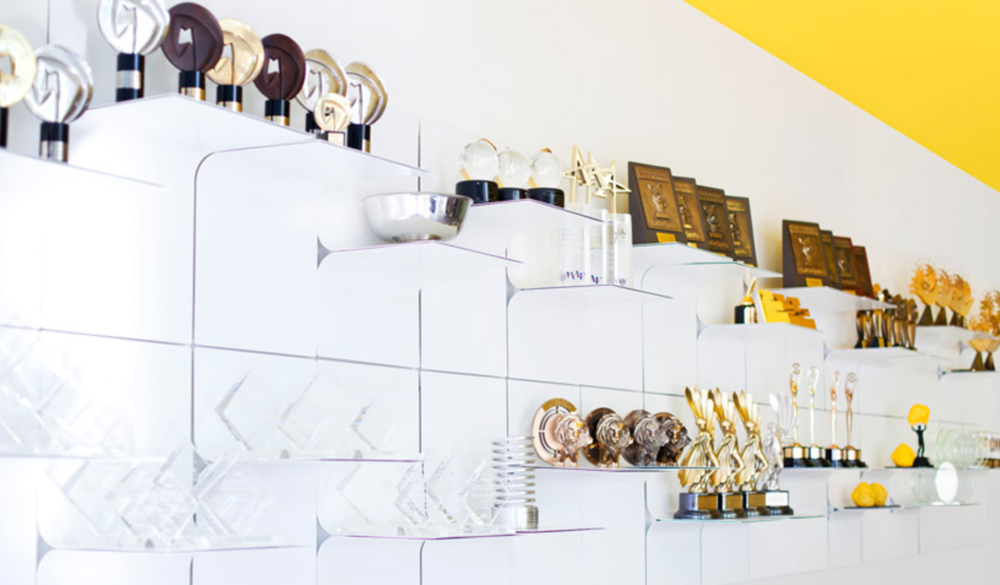 Awards wall at Grupo Gallegos, Los Angeles