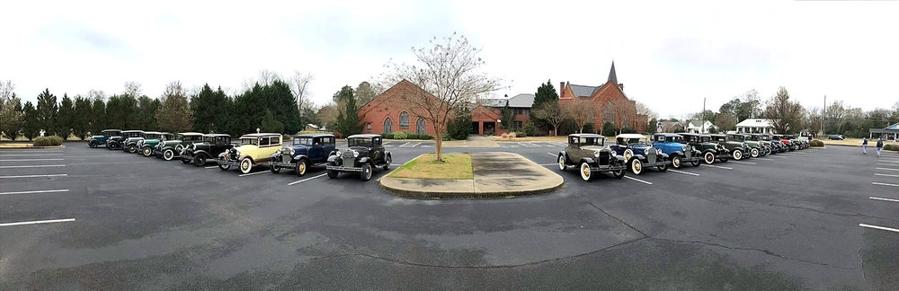 Shade Tree A's, Old 96 district model a's, aiken model a's, palmetto a's vehicles at shealy's bbq, batesburg-leesville, SC - March 2019. ( Shogren)