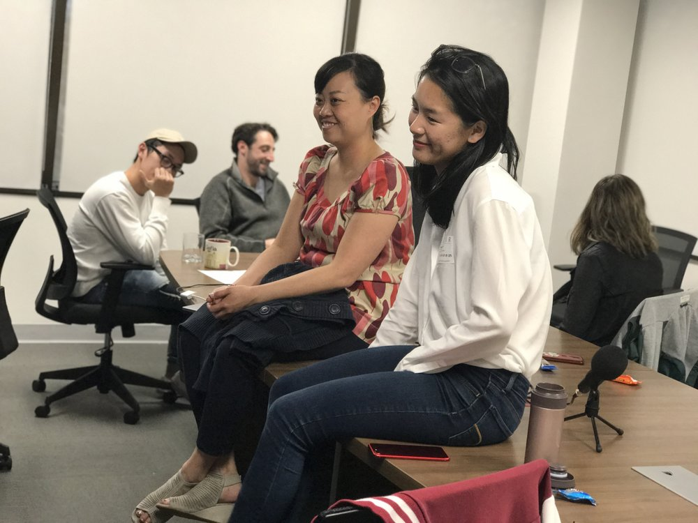 One of the other groups talked with Lulu the product manager about her product management career at Swing and other companies like Facebook and several other startups.