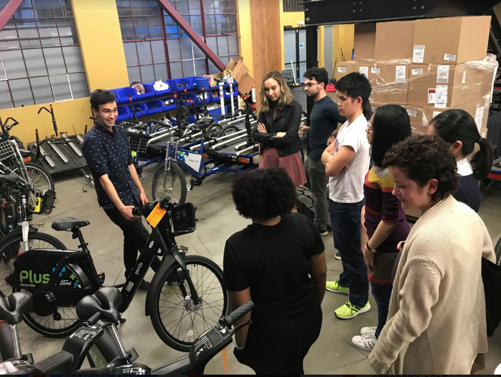 Alex Garcia '17 touring us around the Ford GoBike office and warehouse.