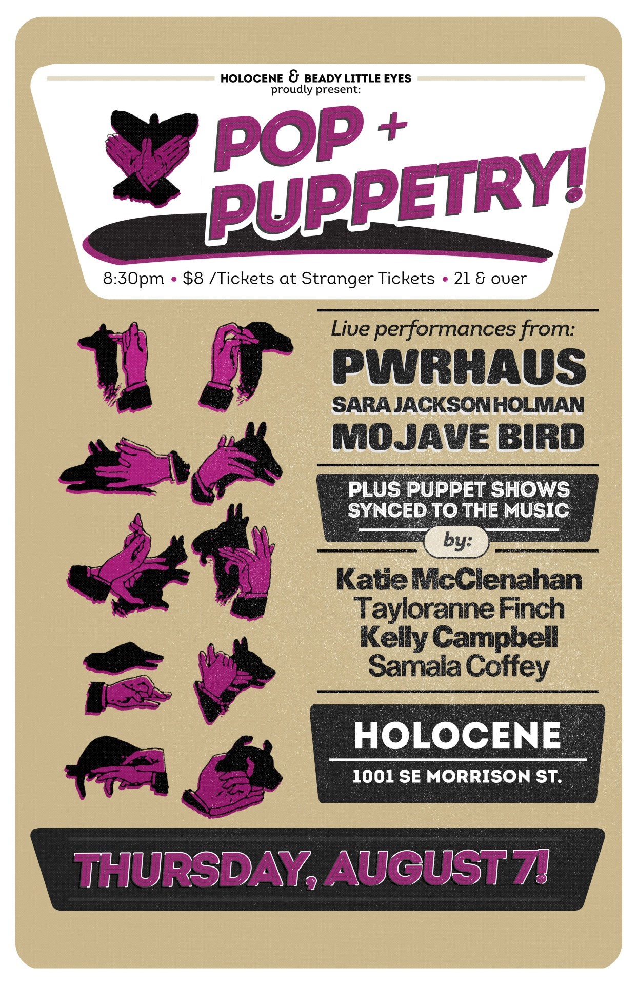 Brand Spankin' Cool poster art for the upcoming POP + PUPPETRY show at Holocene on THURSDAY AUGUST 7th!  TICKETS HERE!