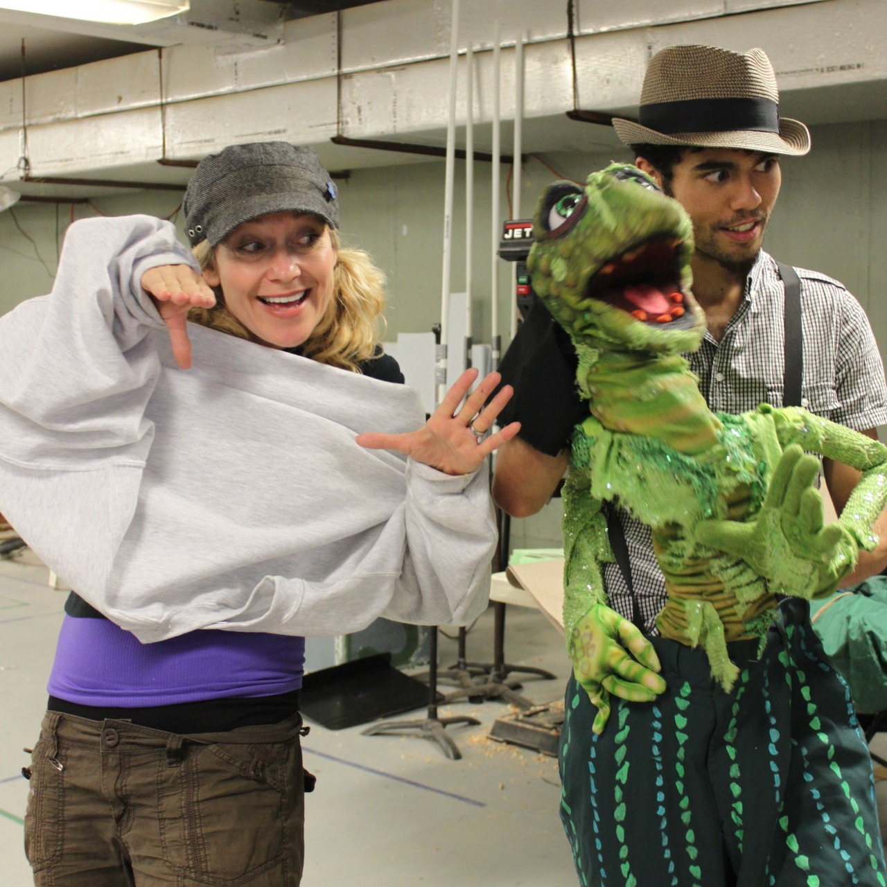 "Leslie Carrera-Rudolph and Brendan Yi-Fu Tay rehearsing for a workshop performance of "" Wake up your Weird "" in June 2011 at the O'Neill Puppetry Conference.   APPLY TODAY!     Photo by Katie McClenahan"