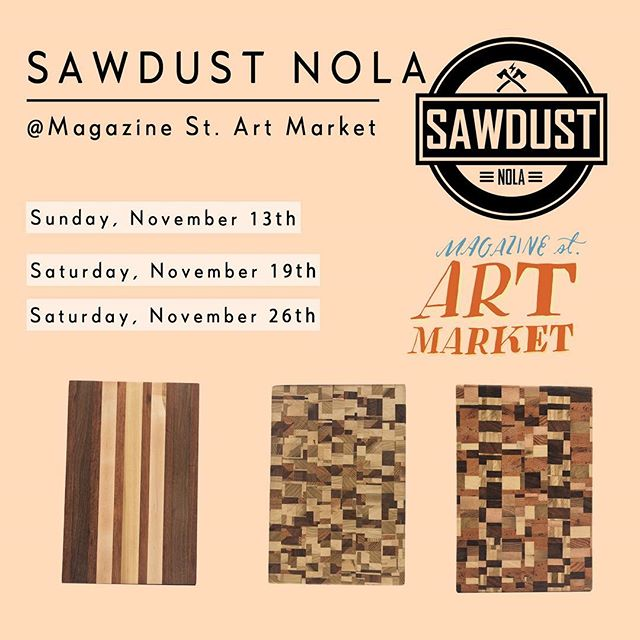Come see FQI and @sawdustnola this month at @magazineartmarket We will be there Sunday from 12-6 with cutting boards, wine holders/racks and dinner trays!