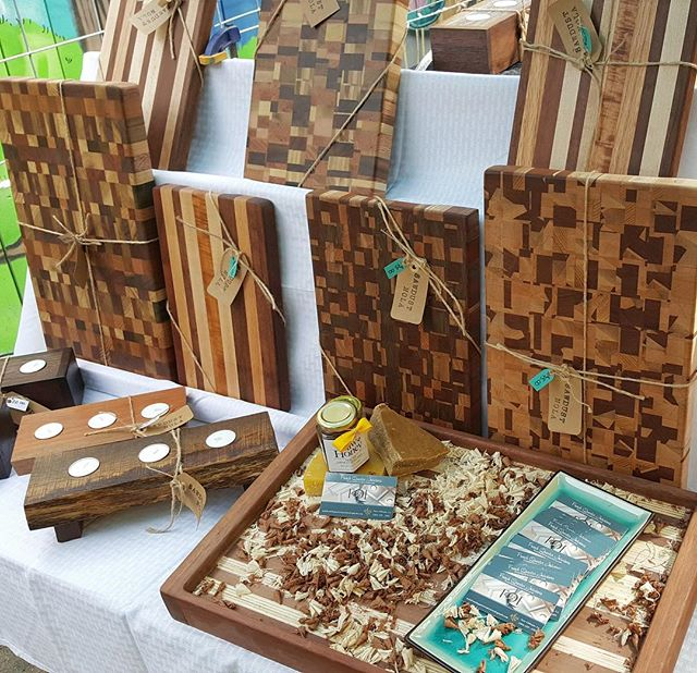 High quality products by @sawdustnola made from reclaimed exotic hard woods! FQI does not waste wood! Each is one-of-a-kind and coated with local legend David Young's beeswax! Come check it out this Saturday at @magazineartmarket
