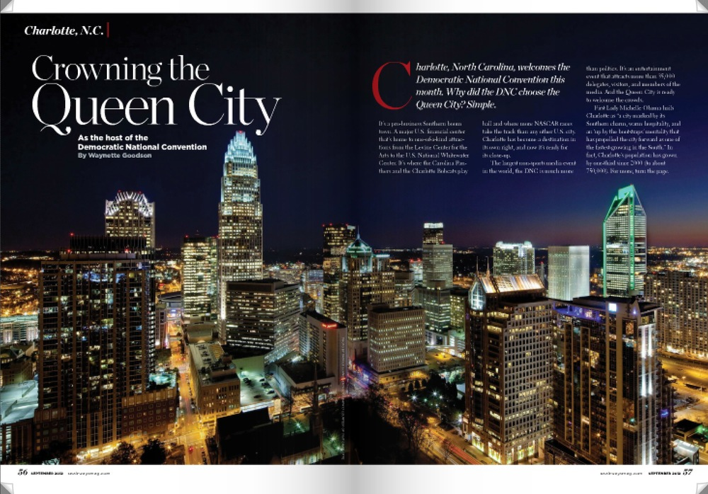 Paid media in USAirways magazine and other outlets over six months prior to the Convention helped to share the Charlotte in 2012 story and build economic development profile of the Charlotte region to hundreds of thousands outside the 35,000 who came to the Queen City for the 2012 DNC. Featured content linked to Charlotte in 2012 digital assets as a part of the overall brand experience.
