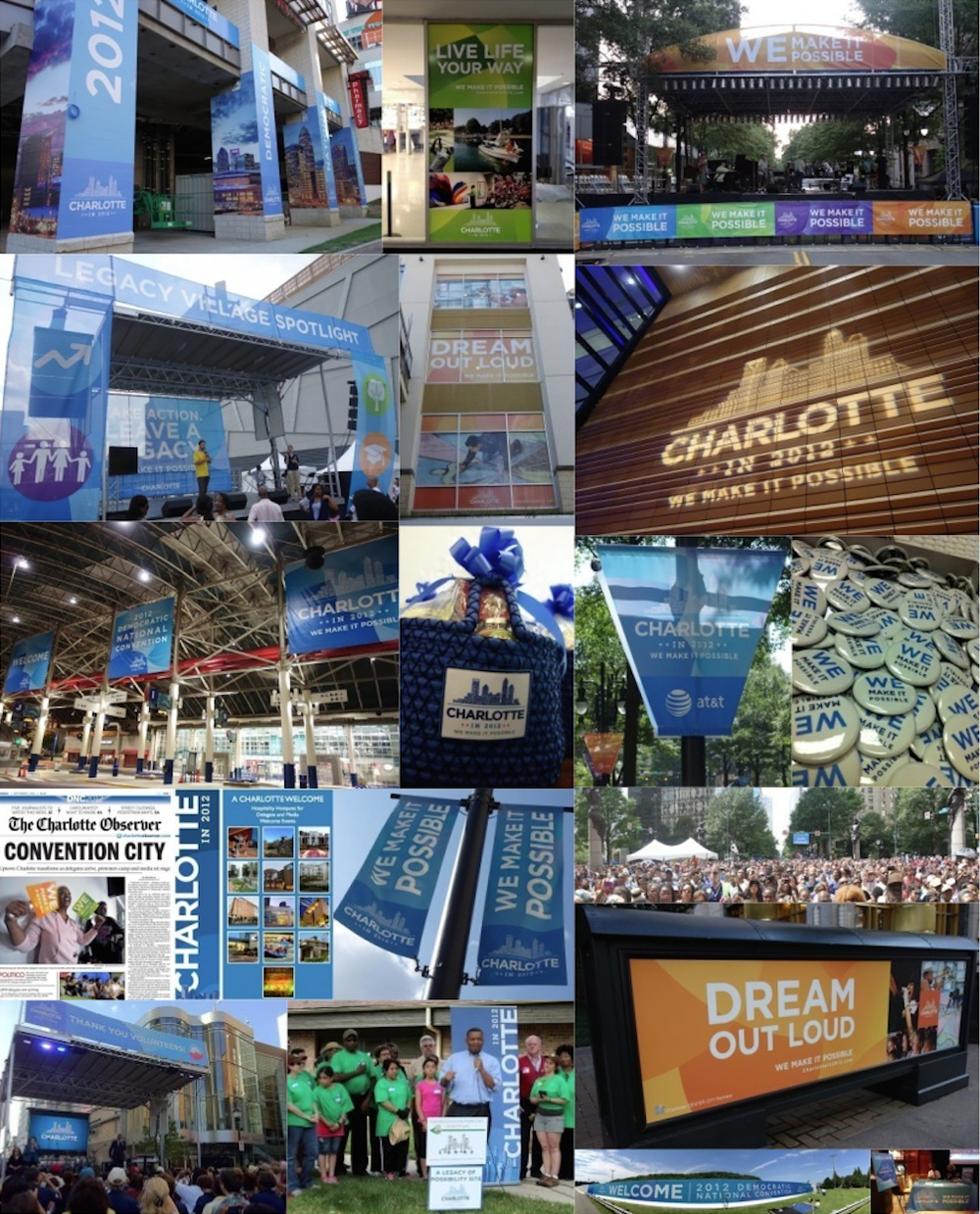 Visual brand activation across the Charlotte region greeted visitors at key touch points in the brand experience, including brand activation at Charlotte-Douglas International Airport, all official host hotels throughout the region, shopping and entertainment venues, cultural facilities, street and highway signage, welcome packet collateral materials, volunteer costuming and digital signage.