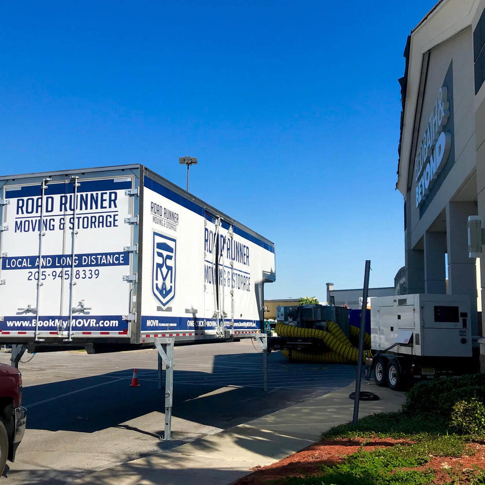 Road Runner Moving MOVR BODY set up in front of Bed, Bath & Beyond after Hurricane Michael ravaged Panama City and Mexico Beach, FL in October of 2018. Our teams spent several months staged with law enforcement teams completing numerous residential and commercial projects after search and rescue cleared areas.