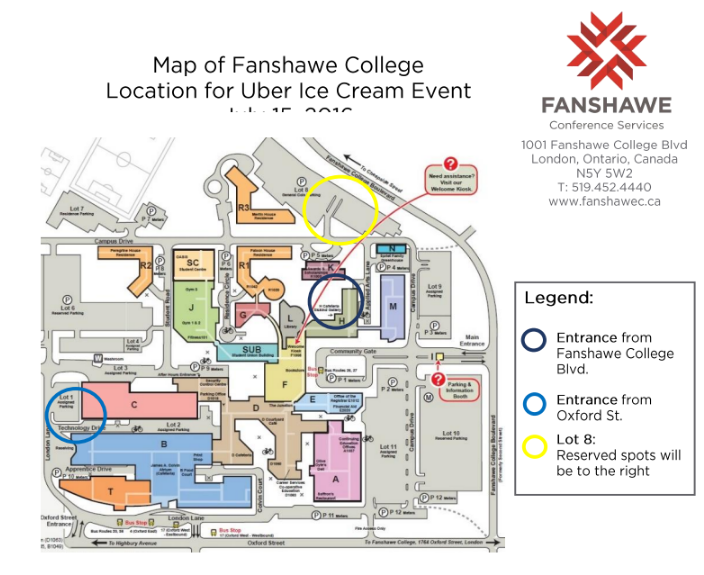 Here is the map of Fanshawe College. Entrance is off of Oxford Street. Parking is in the Northeast side of campus.