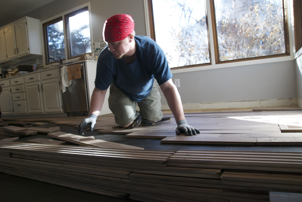 Steve Clifton of ASA Flooring assembling hardwood floors in Denver