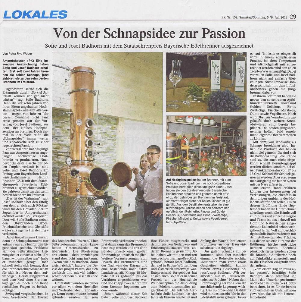 Erschienen im Pfaffenhofener Kurier Nr. 152 vom 5./6. Juli 2014