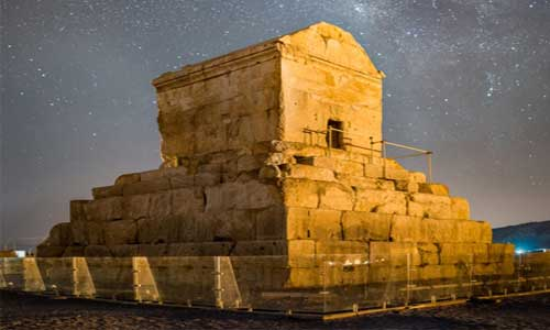 Tomb of Cyrus the Great under the starry sky of Pasargadae, Iran, a UNESCO heritage site. October 29 is the international day of Cyrus the Great.