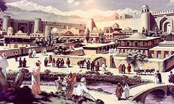 Artistic depiction of medieval Taraz situated along the Silk Road
