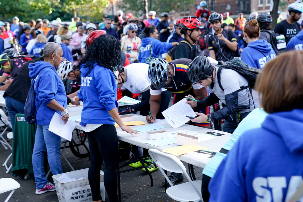 Bikers doing their final registration before they started the race.