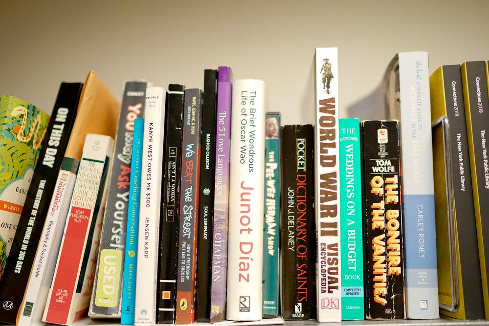 A few books in Dawn's office.