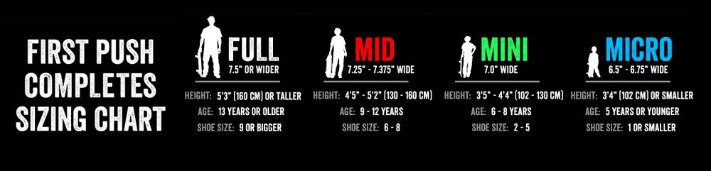 Skateboard Sizing Chart Shredz Shop Skateshop Online Canada