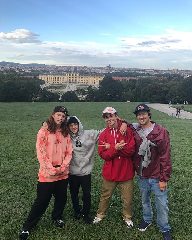 Real good times out in Vienna Austria 🇦🇹 with these 3 young rippas!  They are the next generation so follow them and keep an 👁 eye out!  @giovanni_vianna @luizfrancisco_sk8 @gustavoribeiro  Thnx @redbull @redbullcanada @redbullskate for the wingzzzz 🤘🏼