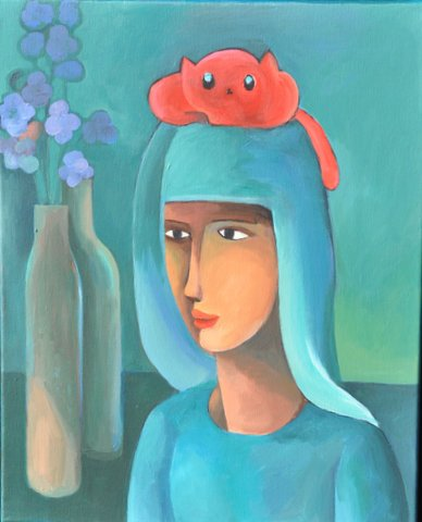 Girl With Red Cat
