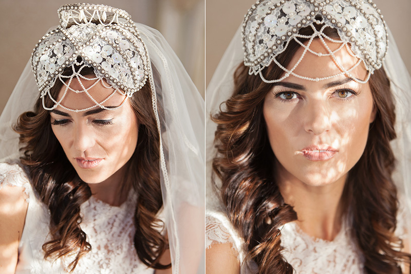bride wearing vintage headpiece