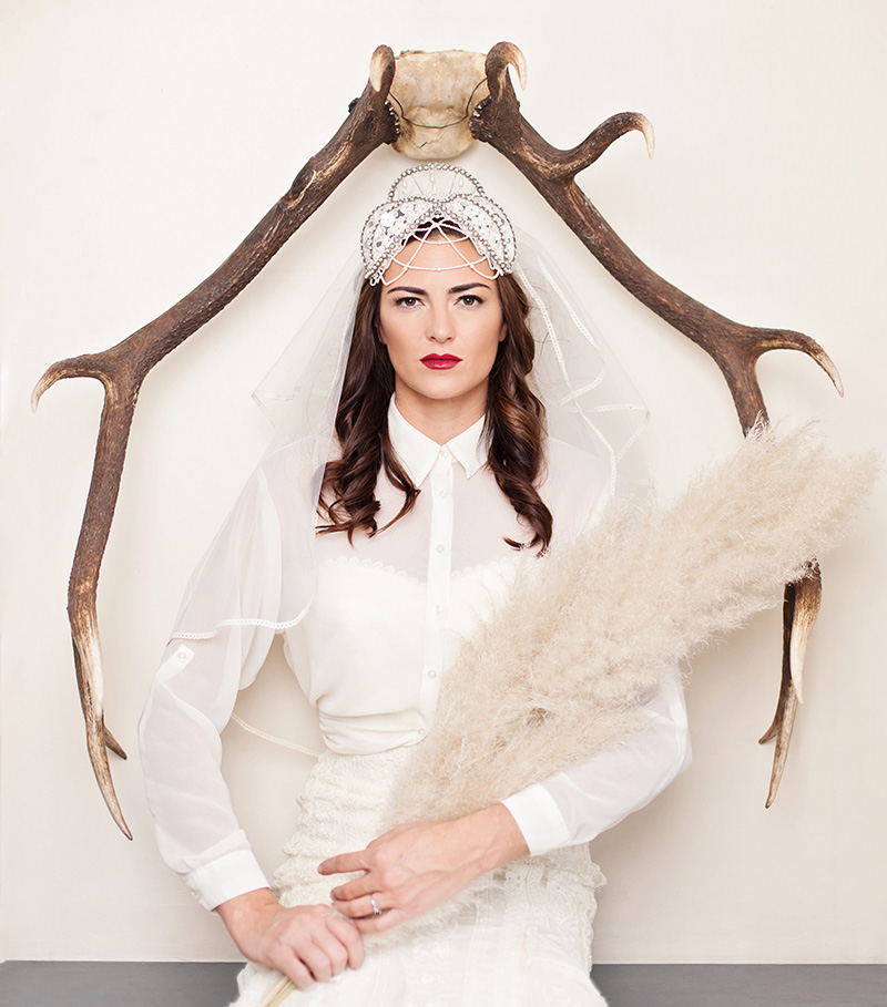Bride under antlers