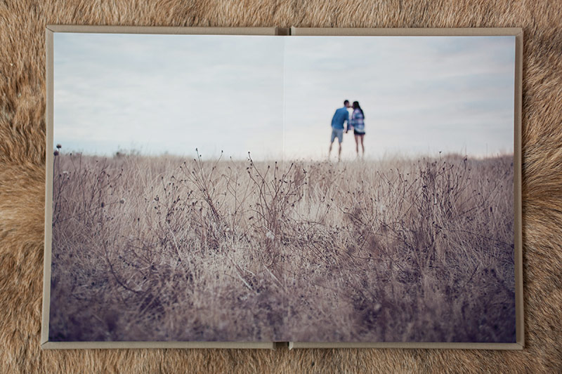 wide angle engagement photo in custom fine art album