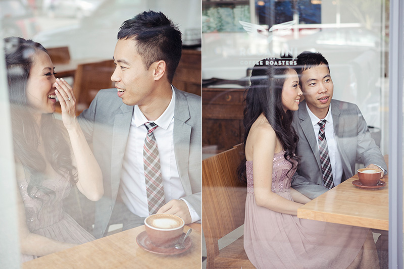 candid image of couple in coffee shop