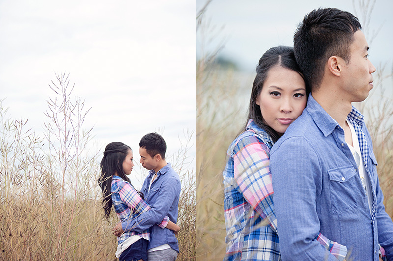 engaged couple in tall grass