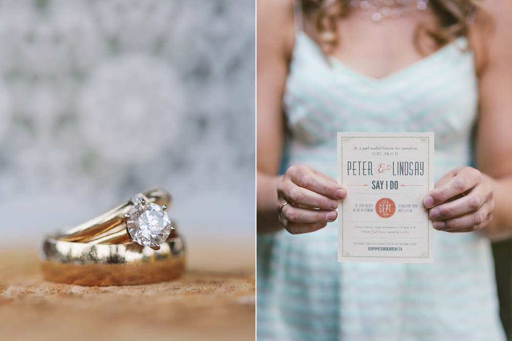 Vancouver Portrait Photography: Wedding rings and invitation
