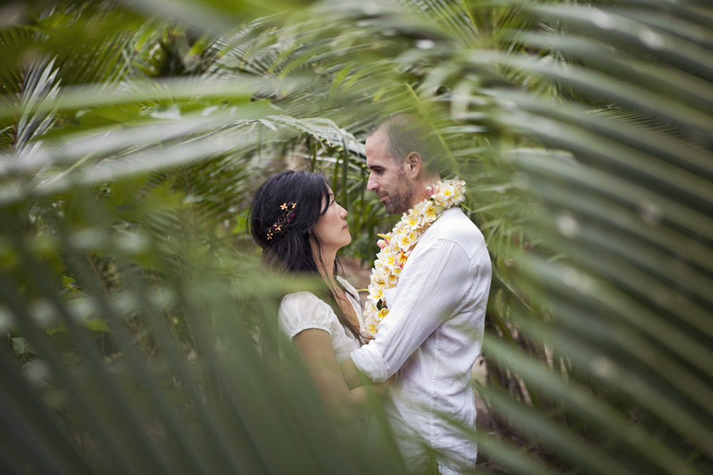 Vancouver Wedding Portrait Photography: Couple share a moment among the ferns of Fiji