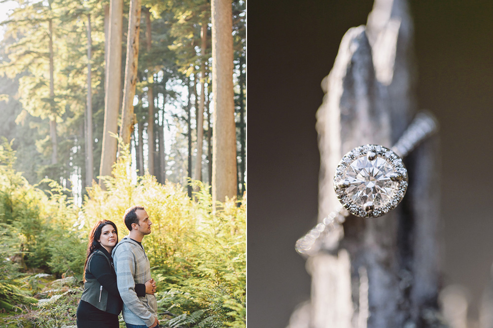 Vancouver portrait photography: ring portrait, couple in forest