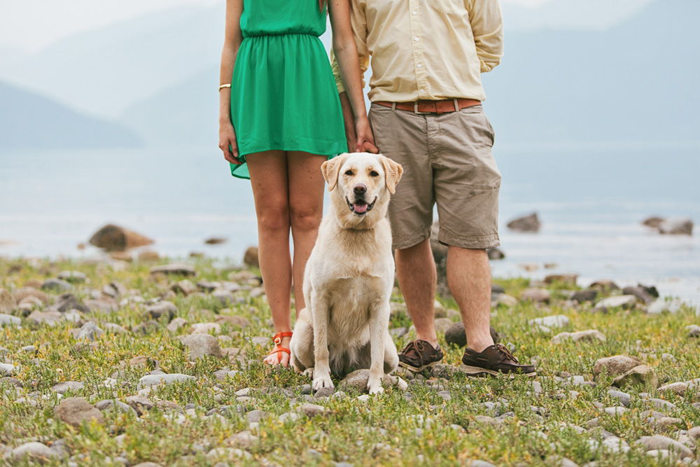 engaged couple and their dog at the beach