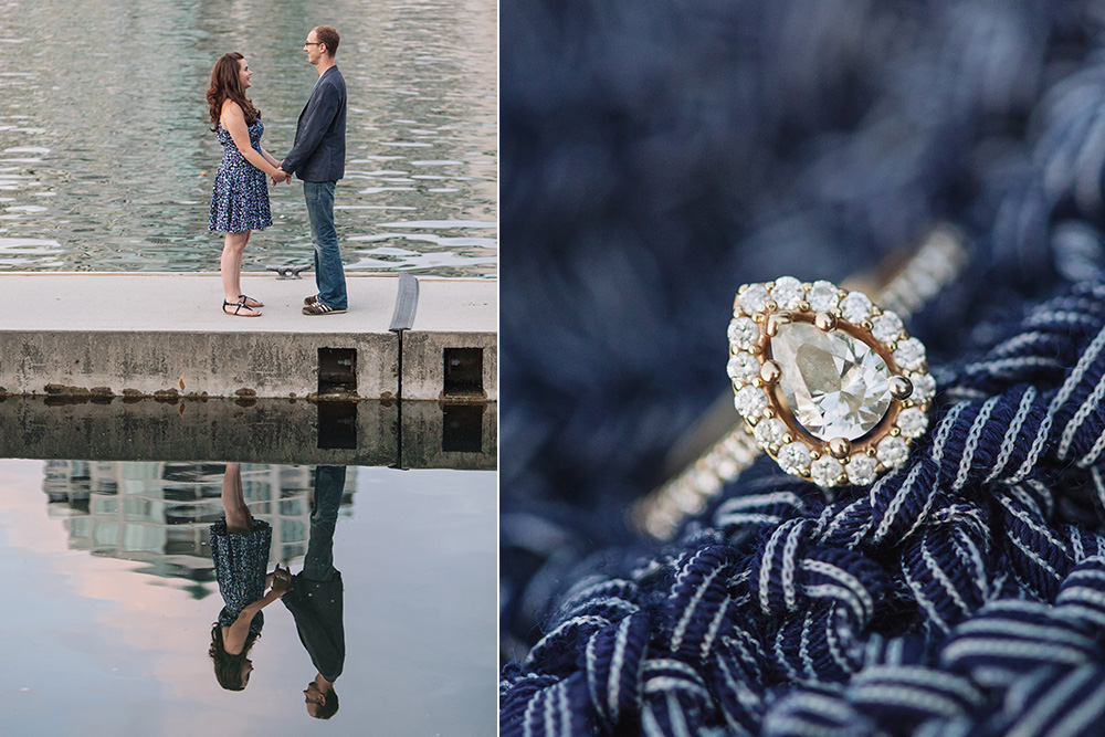 Vancouver portrait photography: couple holding hands on dock, ring portrait