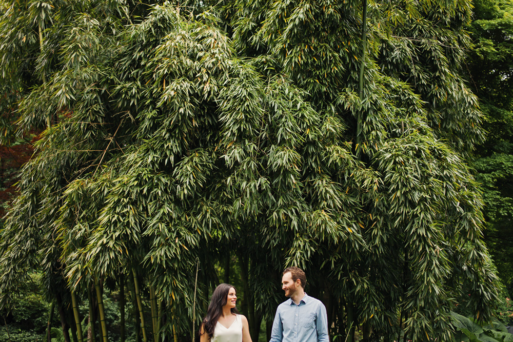 couple in front of long bamboo  by Vancouver photographer