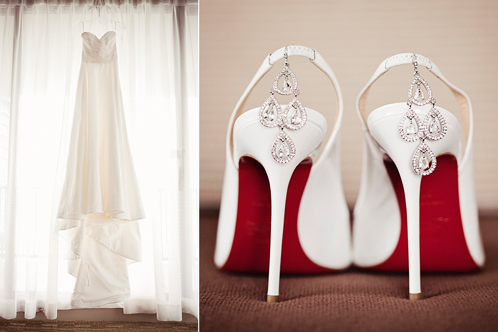 A Bride's shoes, earrings, and dress