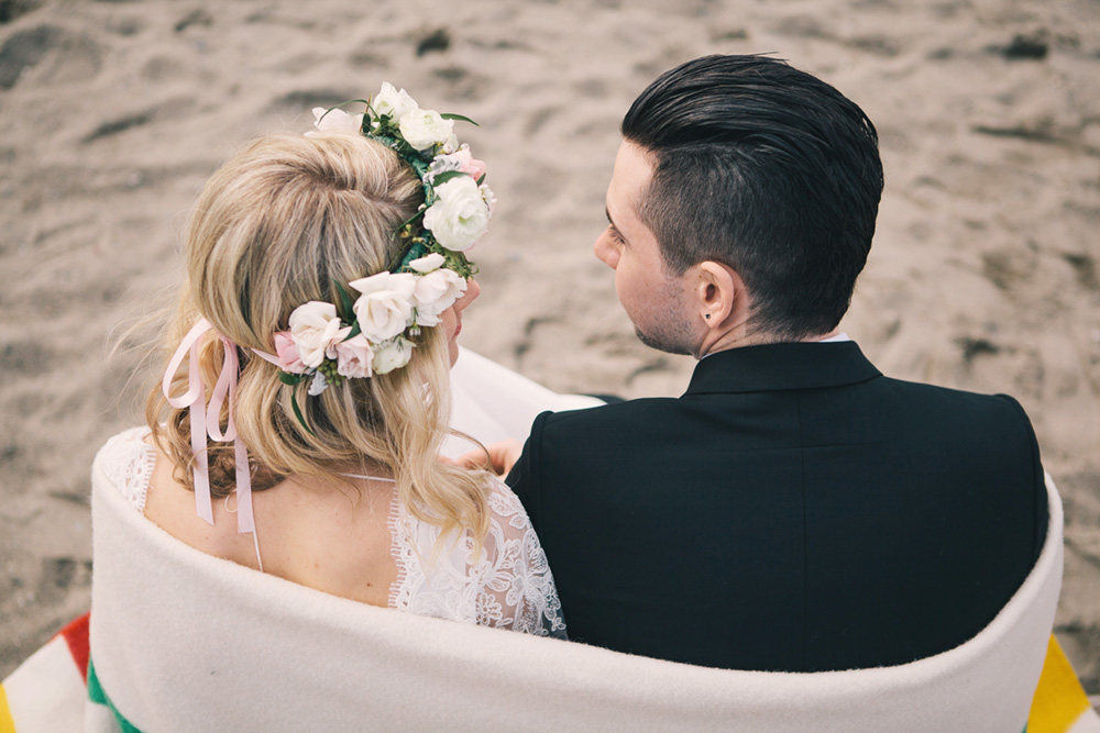 Vancouver portrait photography: Bride and groom at the beach