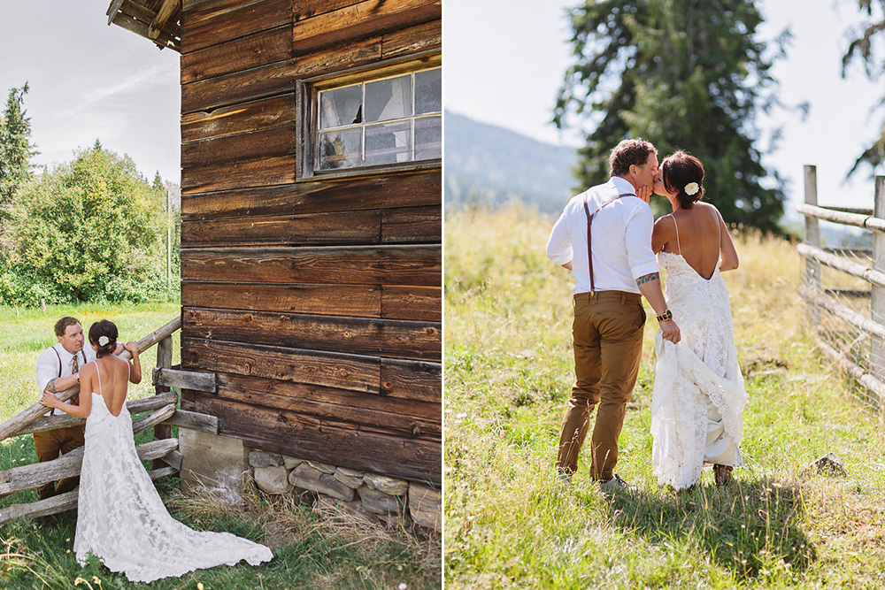 bride and groom in front of a barn by Vancouver wedding photographer