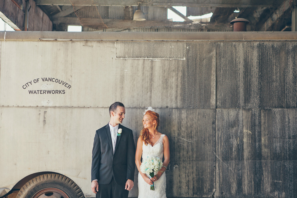Vancouver wedding photos: bride and groom in front of old truck