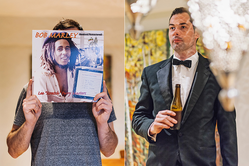 groom with record in front of face/groom portrait