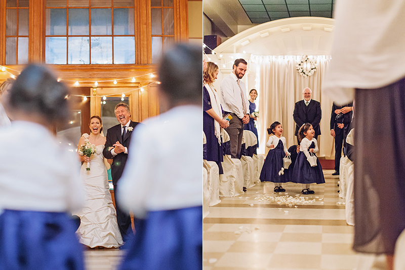 bride walking down aisle with dad, laughing