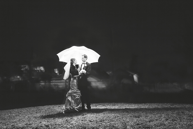 portrait of bride and groom at night in a park