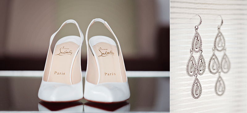 white wedding shoes, earrings hanging