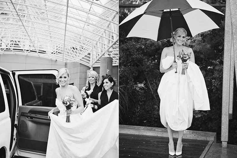 bride getting into limo, bride under an umbrella