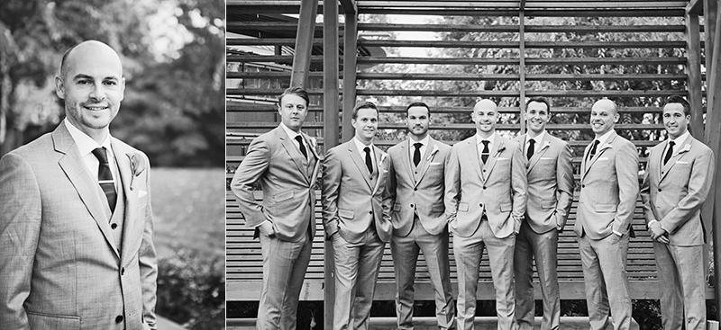groom portrait, groom and groomsmen on bench