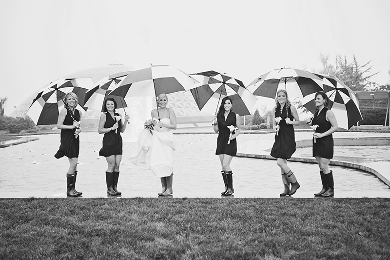 bridal party portrait with umbrellas